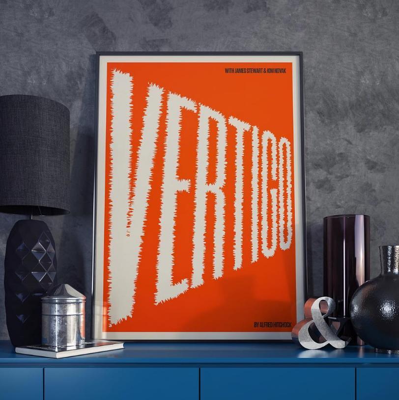 Graphic Designer Redesigns a Movie Poster Every Day, for One Year: Scarface, Mulholland Dr., The Graduate, Vertigo, The Life Aquatic and 360 More Artes & contextos Vertigo poster