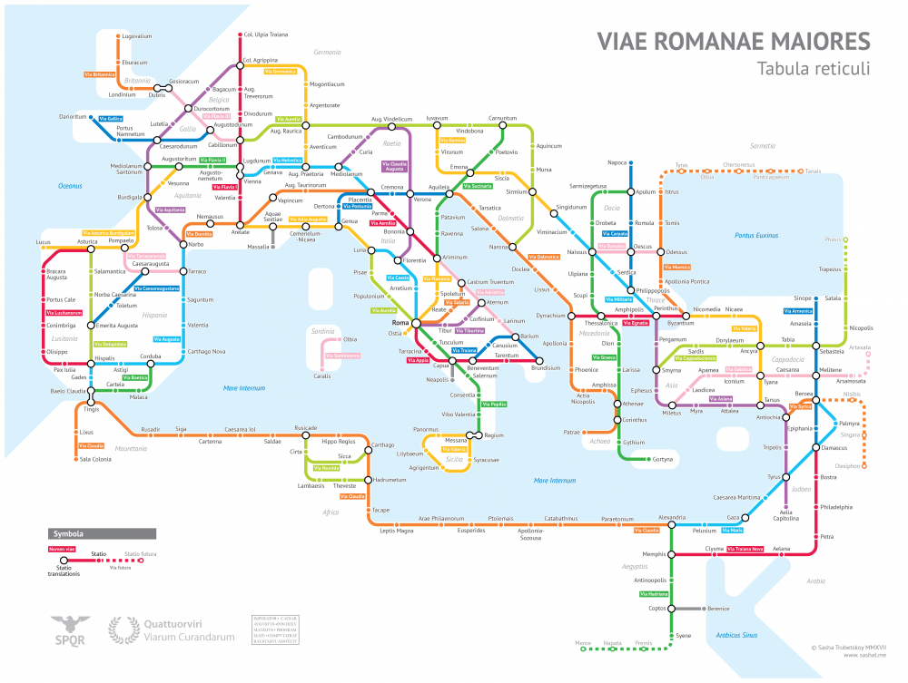 The Roads of Ancient Rome Visualized in the Style of Modern Subway Maps