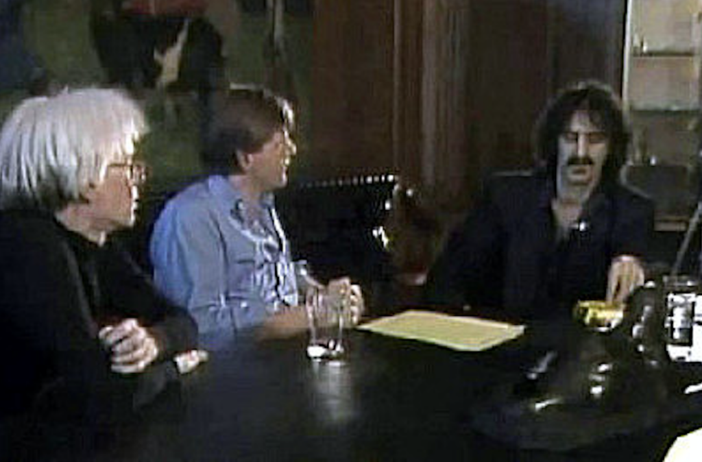 """Andy Warhol Hosts Frank Zappa on His Cable TV Show, and Later Recalls, """"I Hated Him More Than Ever"""" After the Show"""