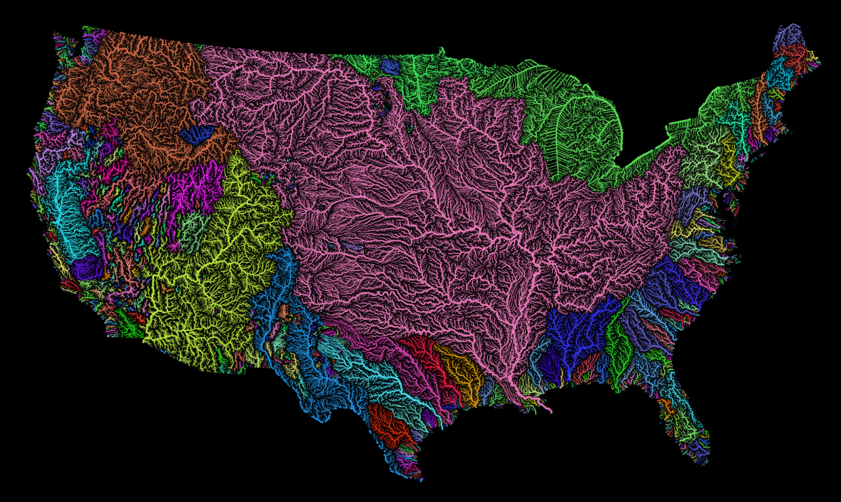All The Rivers Streams In The US Shown In Rainbow Colours A - Us map with all the rivers