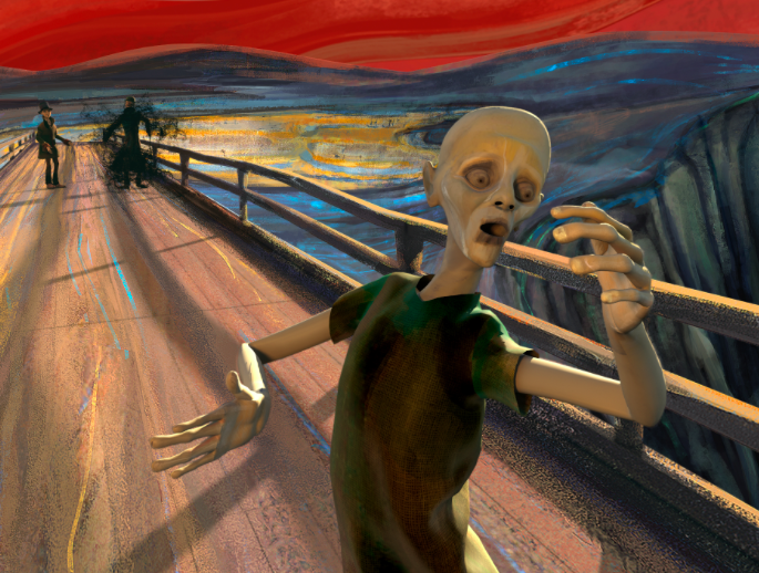 "Edvard Munch's Famous Painting ""The Scream"" Animated to the Sound of Pink Floyd's Primal Music"