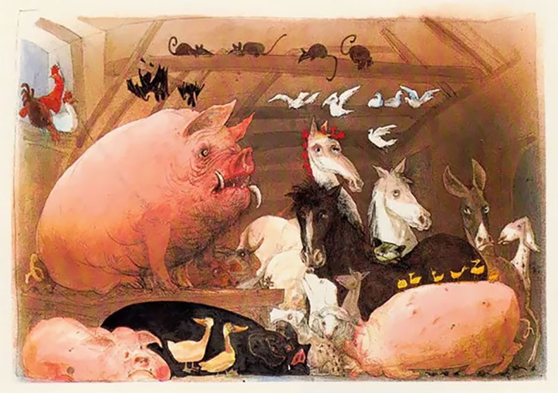 ralph steadman s surrealist illustrations of george orwell s as a novelist george orwell did not traffic in subtleties but then neither did the authors of medieval morality plays the allegorical animal farm