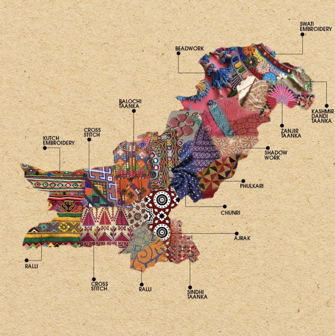 artistic maps of pakistan u0026 india show the embroidery techniques