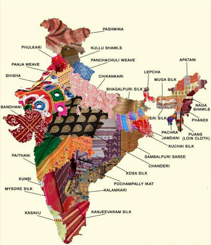 Artistic Maps Of Pakistan India Show The Embroidery Techniques - India maps