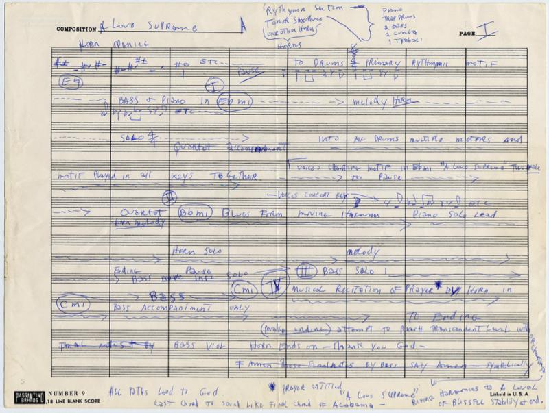 John Coltrane's Handwritten Outline for His Masterpiece A Love Supreme (1964)