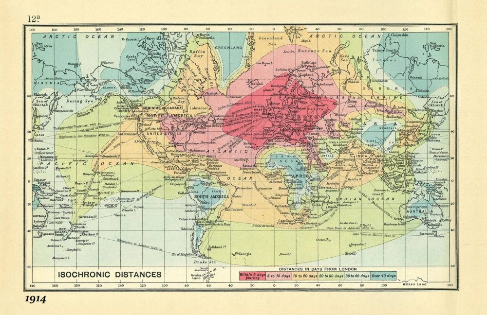Show The Map Of World.Colorful Maps From 1914 And 2016 Show How Planes Trains Have Made