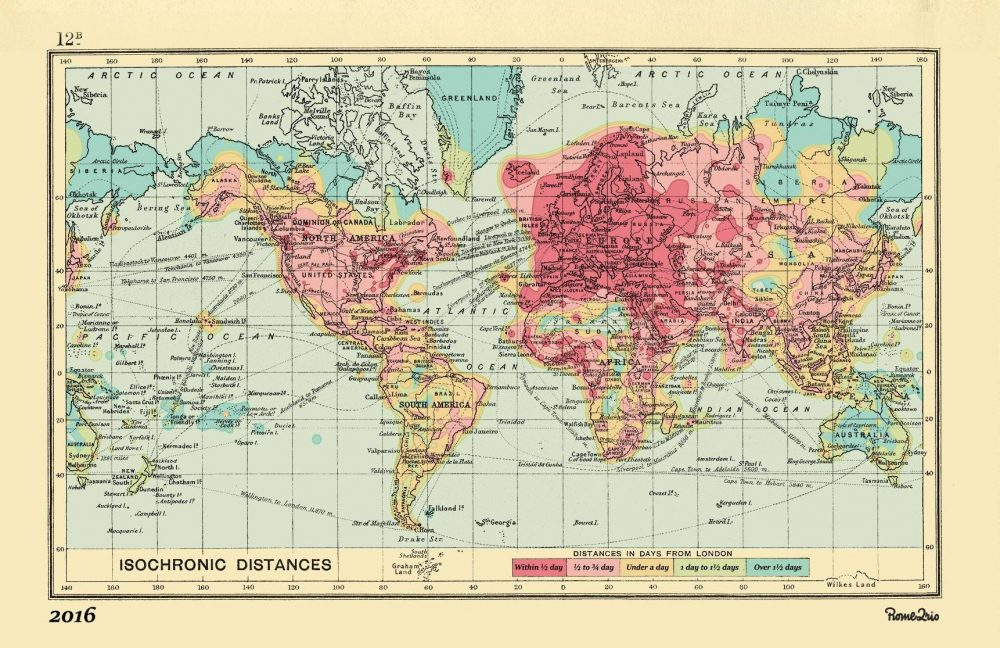 Colorful maps from 1914 and 2016 show how planes trains have made all of western europe is accessible the map promises within five days as are parts of the east coast of the us with parts further midwest taking up to gumiabroncs Choice Image