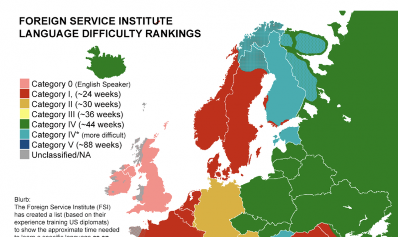 A Map Showing How Much Time It Takes to Learn Foreign Languages: From Easiest to Hardest