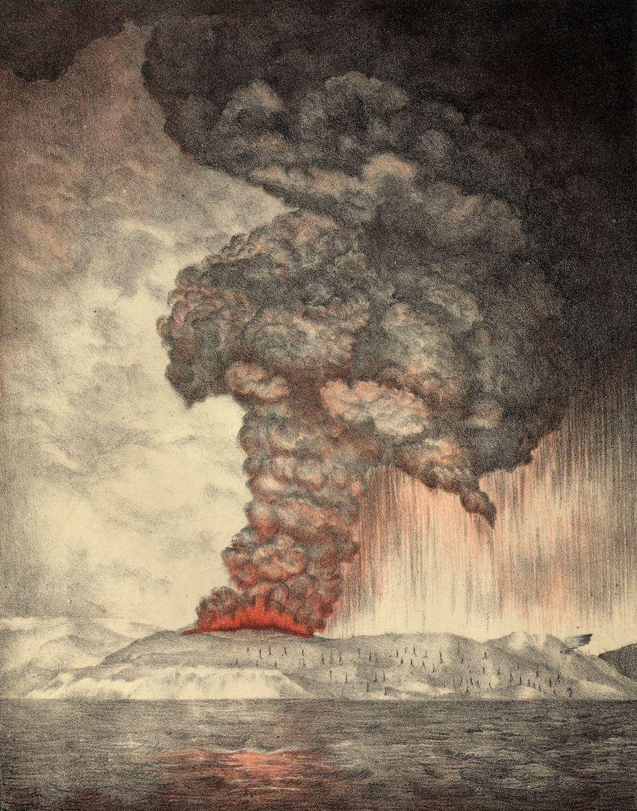 L'explosion de Krakatoa en 1883 a fait le plus grand bruit de l'histoire - Tellement fort qu'il a voyagé quatre fois dans le monde Krakatoa_eruption_lithograph