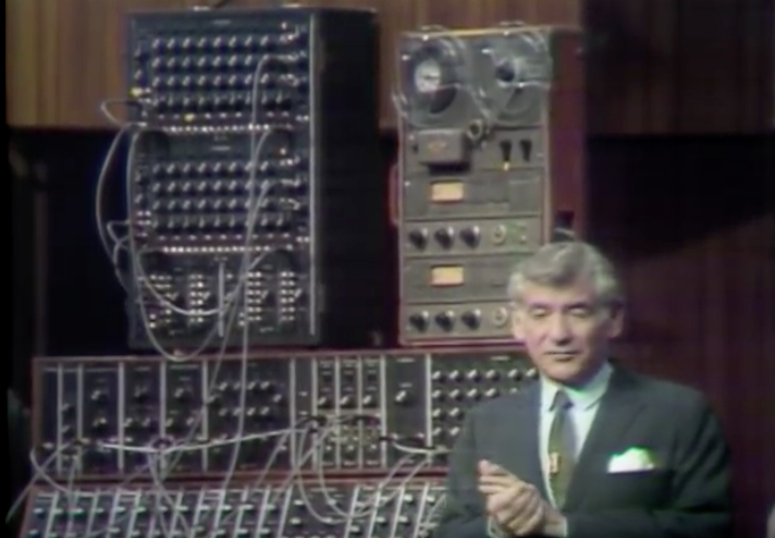 """Leonard Bernstein Introduces the Moog Synthesizer to the World in 1969, Playing an Electrified Version of Bach's """"Little Fugue in G"""""""
