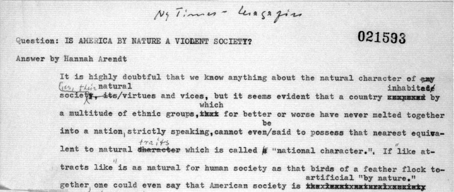 History archives page 11 of 164 open culture archive open culture arendts 1968 new york times editorial is america by nature a violent society whose typescript you can see in part above opens with a number of fandeluxe Images