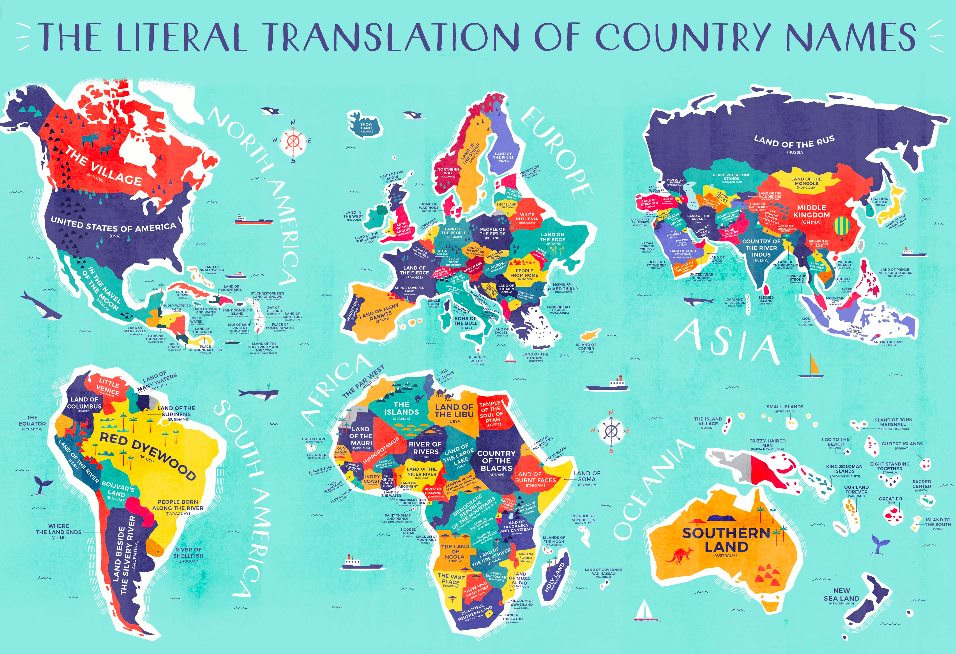 Beautifully designed map shows the literal translations of country recently we featured a world map that labels each country not with its name in english but its name in its own language that surely proved not just a gumiabroncs Image collections