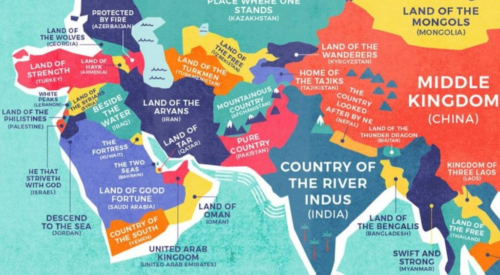 Beautifully designed map shows the literal translations of country take for instance place of abundant fish better known to its people as panam and to english speakers as panama or land of burnt faces which many gumiabroncs Choice Image