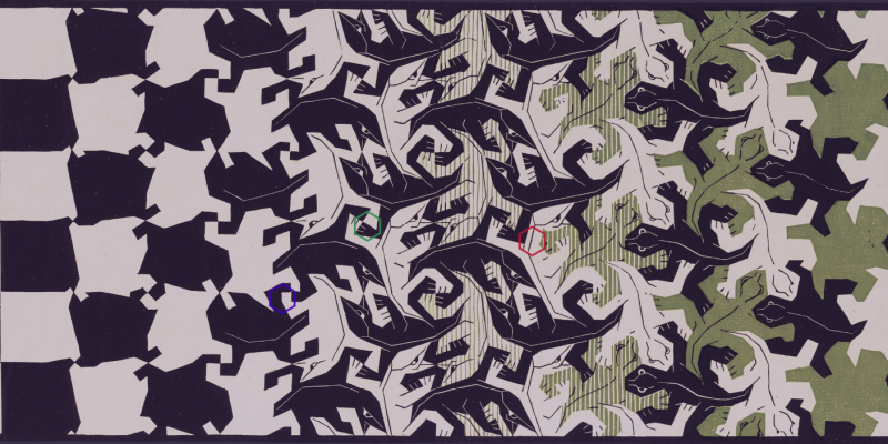 """4b3634742 We see how the various animals in Escher's """"systematic tessellations,"""" as  he called them, were chosen by virtue of their shape as well as Escher's  interest ..."""