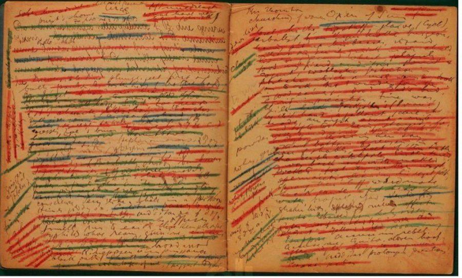 James Joyces Crayon Covered Manuscript Pages For Ulysses