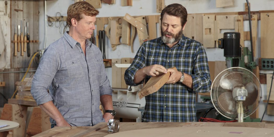 nick offerman explains the psychological benefits of woodworking and how it can help you. Black Bedroom Furniture Sets. Home Design Ideas