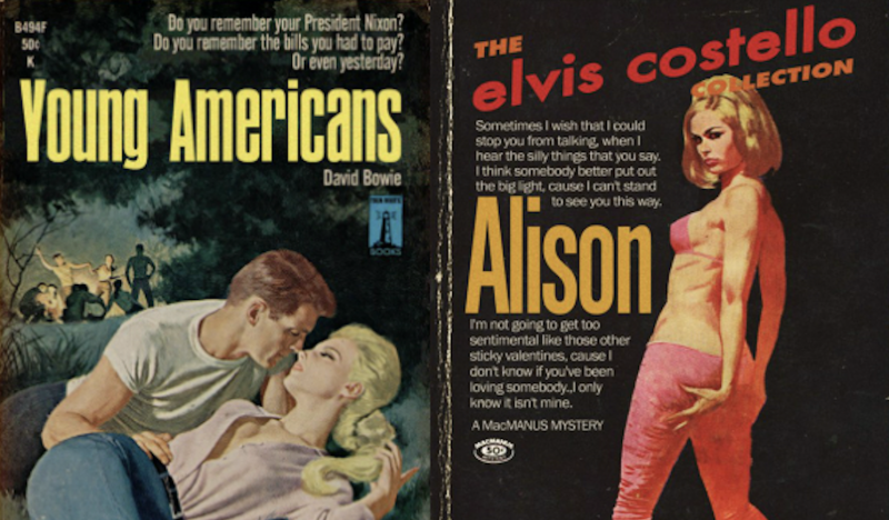 Songs by David Bowie, Elvis Costello, Talking Heads & More Re-Imagined as Pulp Fiction Book Covers