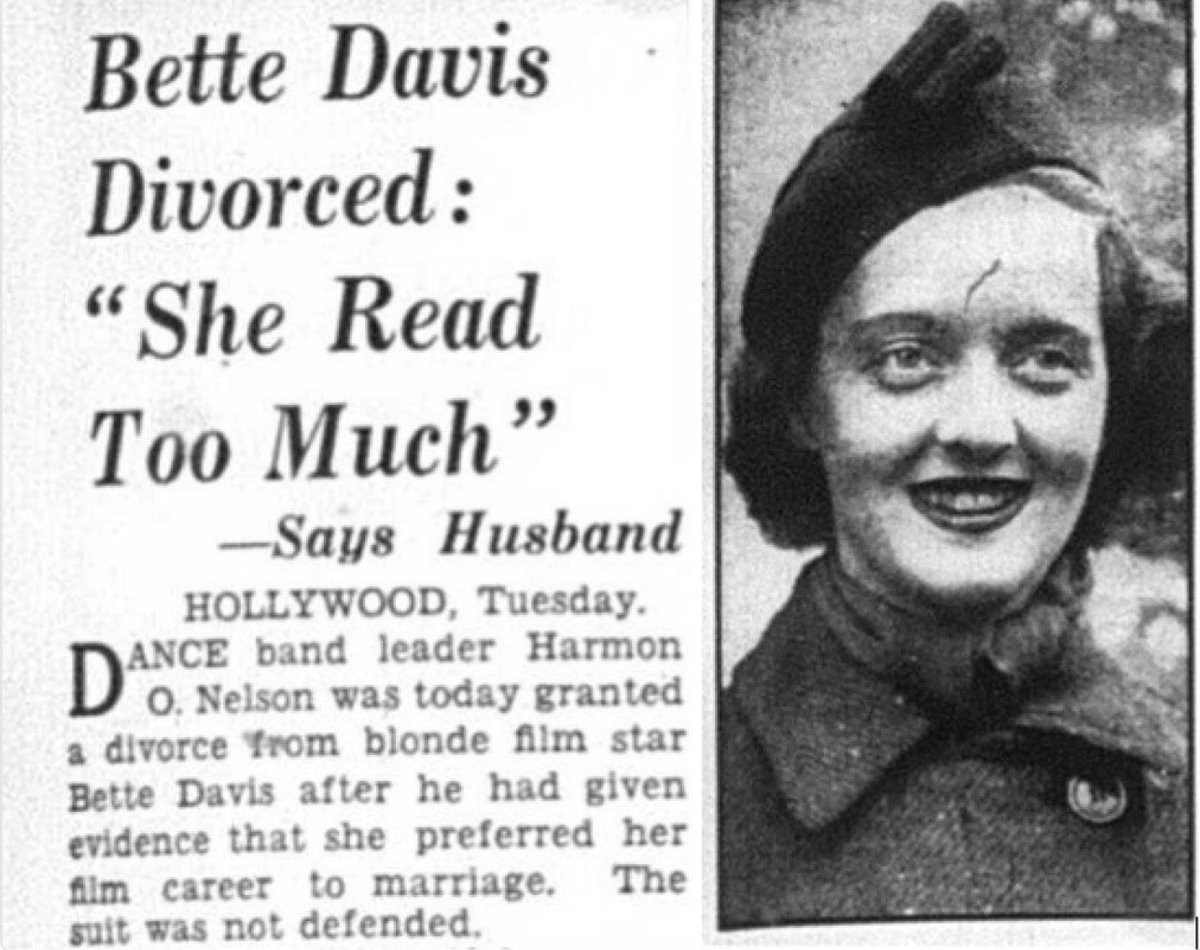 """Bette Davis Divorced: """"She Read Too Much,"""" Says Husband (1938)"""