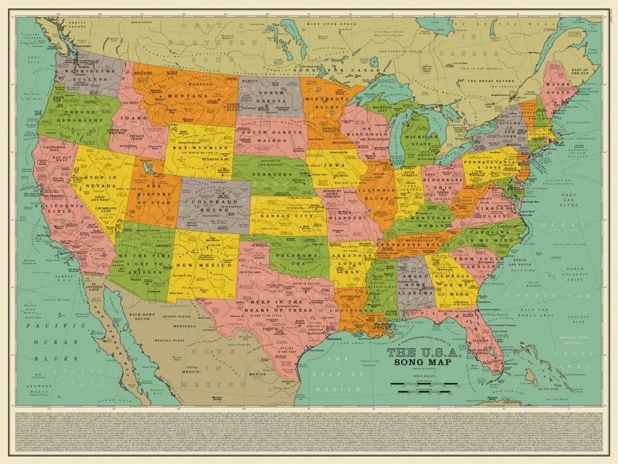 A Map Of The Us Created Out Of 1000 Song Titles That Reference - Us-map-with-landmarks