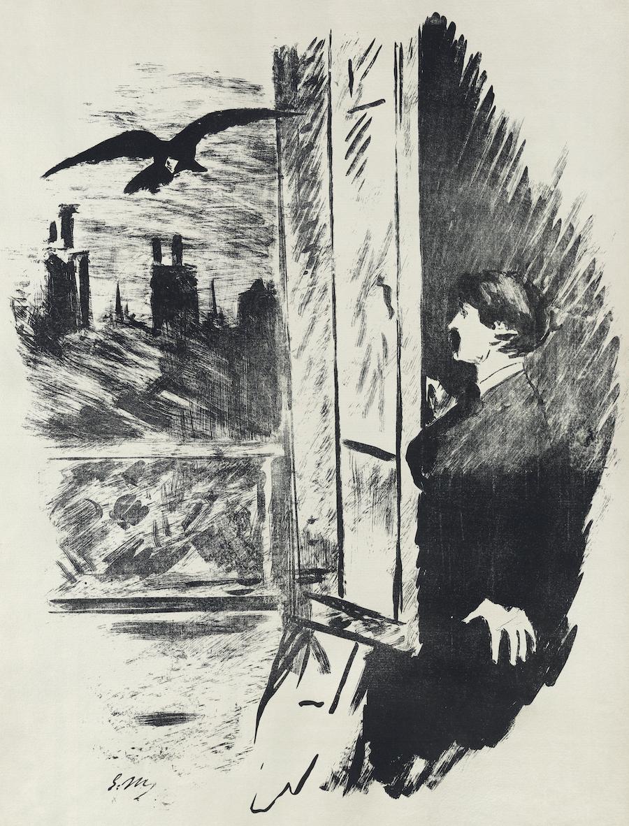 Classic Illustrations of Edgar Allan Poe's Stories by Gustave Doré, ÉdouardManet, & more Artes & contextos Raven Manet C21