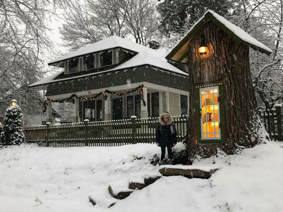 Librarian Honors a Dying Tree by Turning It Into a Little Free Library