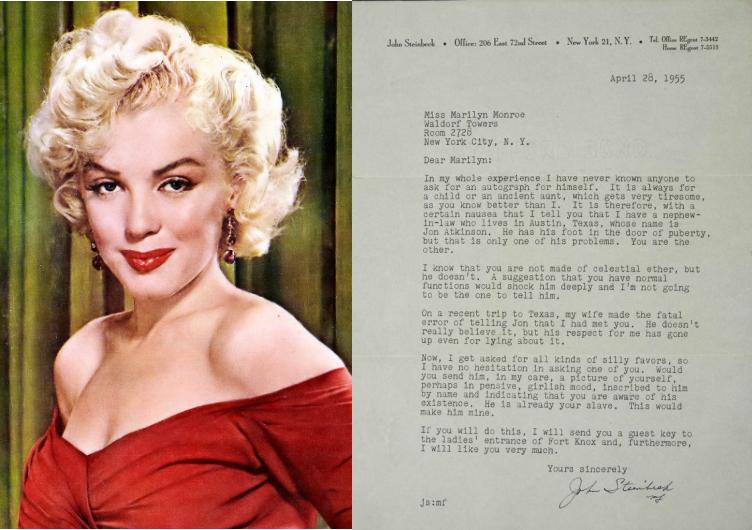 Here's John Steinbeck Asking Marilyn Monroe for Her Autograph (1955)