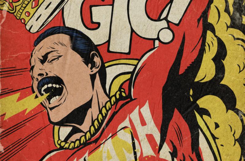 Freddie Mercury Reimagined as Comic Book Heroes