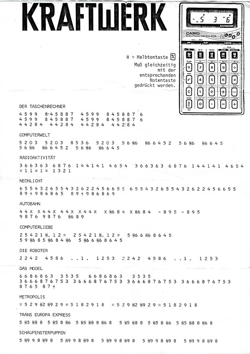 When Kraftwerk Issued Their Own Pocket Calculator