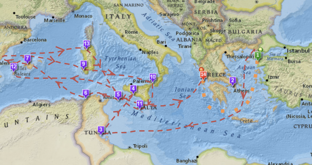 Map Of Odysseus Journey An Interactive Map of Odysseus' 10 Year Journey in Homer's Odyssey