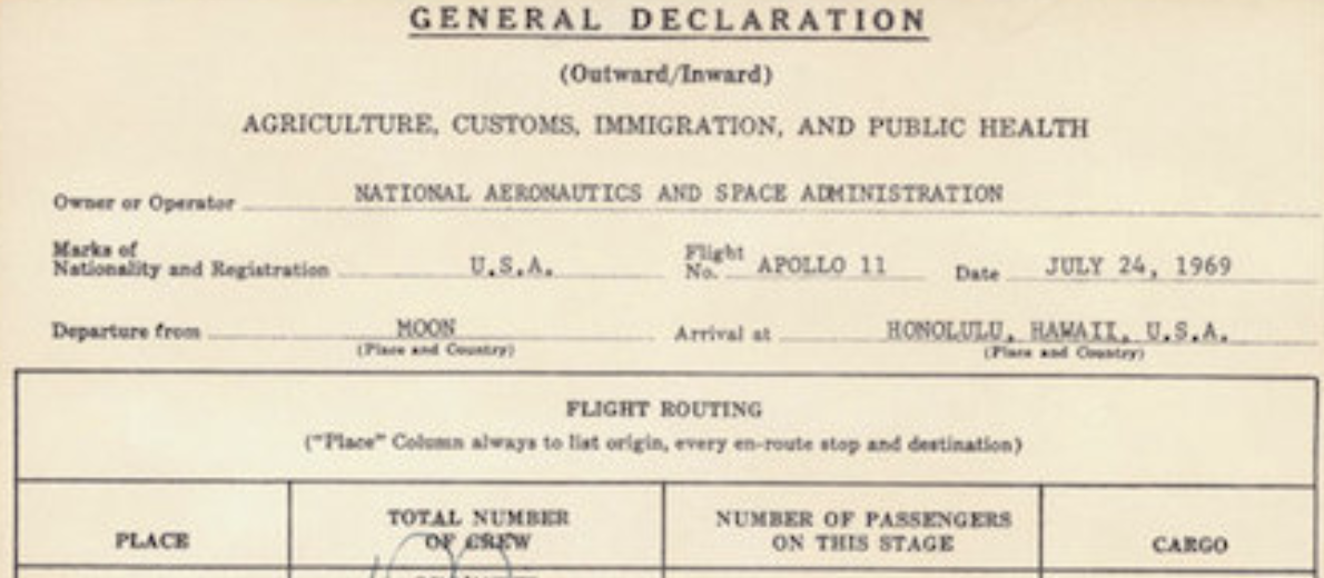 Neil Armstrong, Buzz Aldrin & Michael Collins Go Through Customs and Sign Immigration Form After the First Moon Landing (1969)