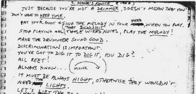 "Thelonious Monk Creates a List of Tips for Playing a Gig: ""Don't Listen to Me, I Am Supposed to Be Accompanying You!"""