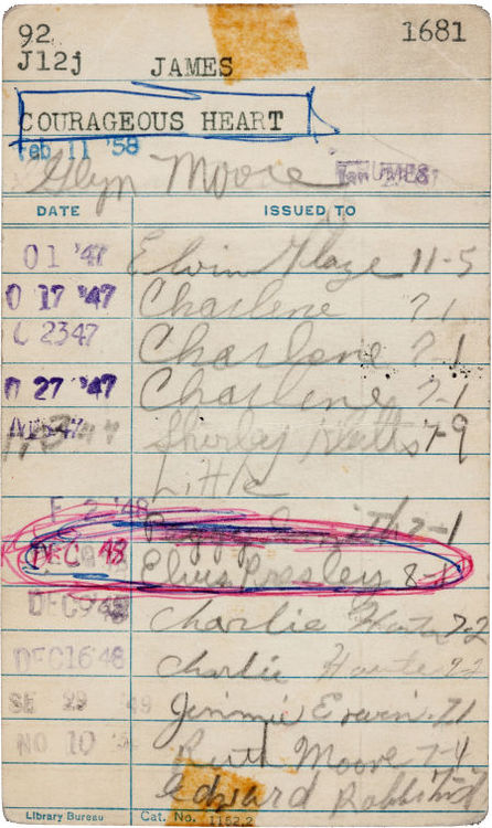 elvis library card