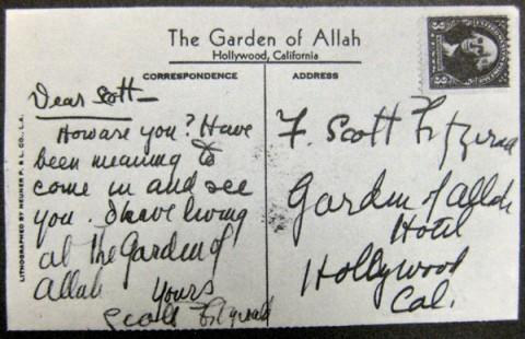 F. Scott Fitzgerald postcard