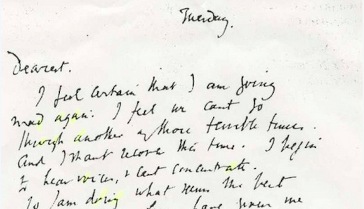 virginia woolf's handwritten suicide note: a painful and poignant
