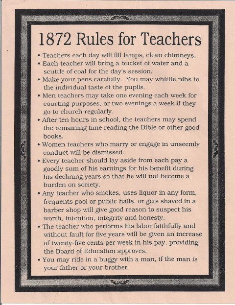 List of rules for teachers from 1872