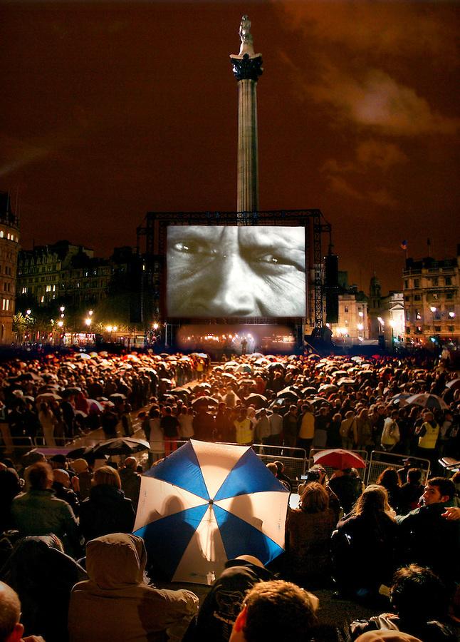 'Battleship Potemkin' Film Showing, Trafalgar Square, London.