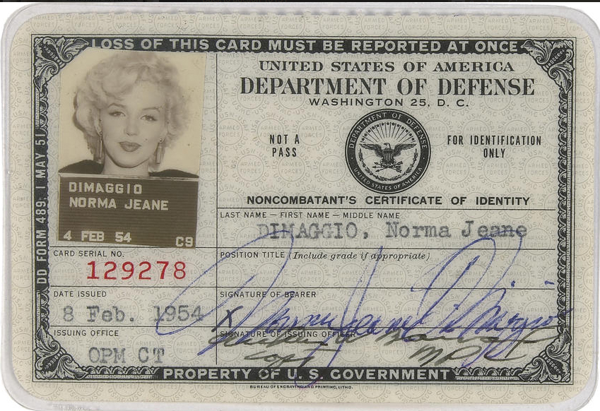 A Marilyn Monroe's ID Card, 1954 (1)