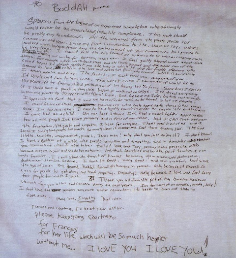 Kurt Cobain s Handwritten Suicide Note 1994 With Parts Movingly