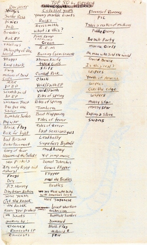 Kurt Cobain Lists His 50 Favorite Albums: Features LPs by