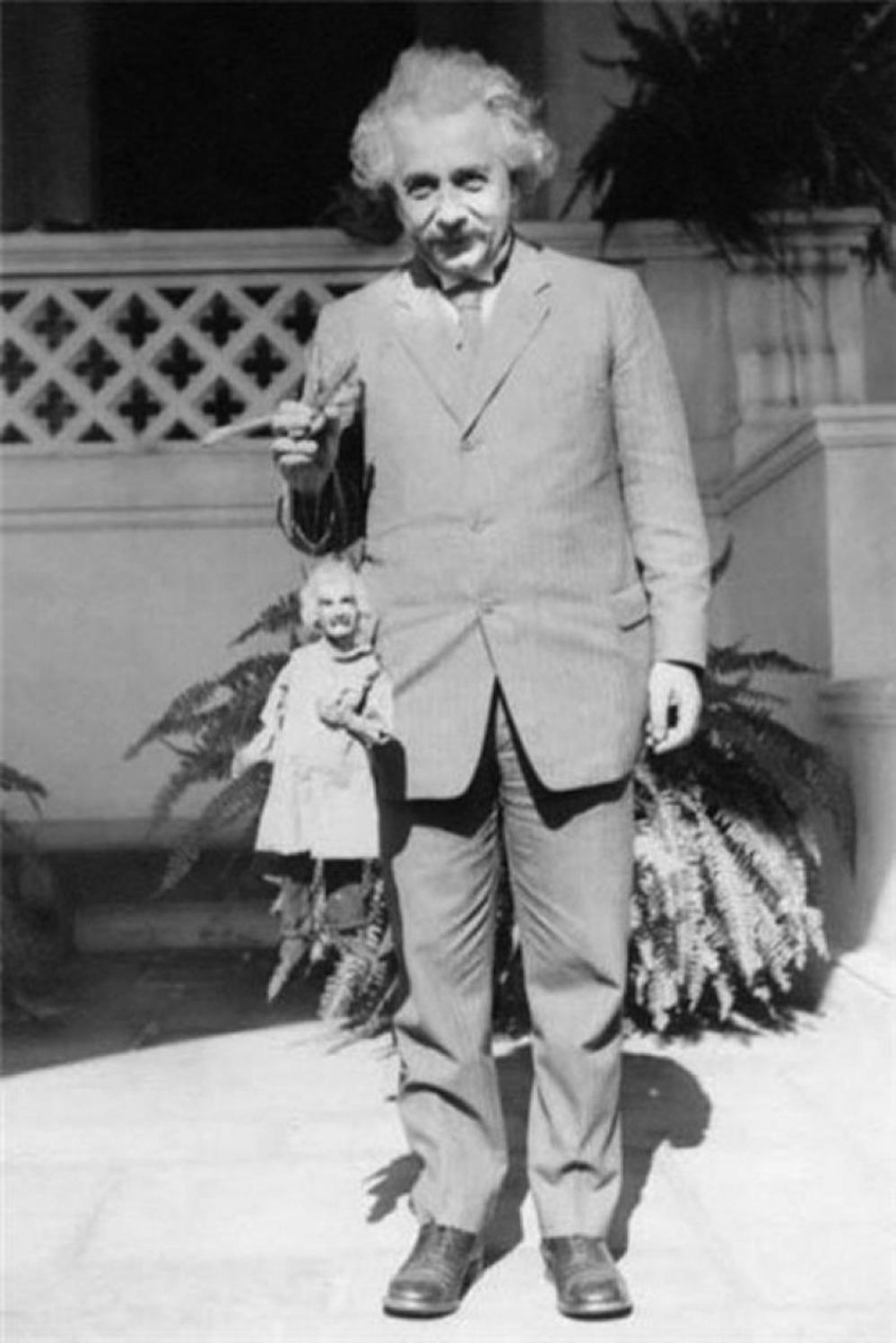 Albert Einstein Holding an Albert Einstein Puppet (Circa 1931
