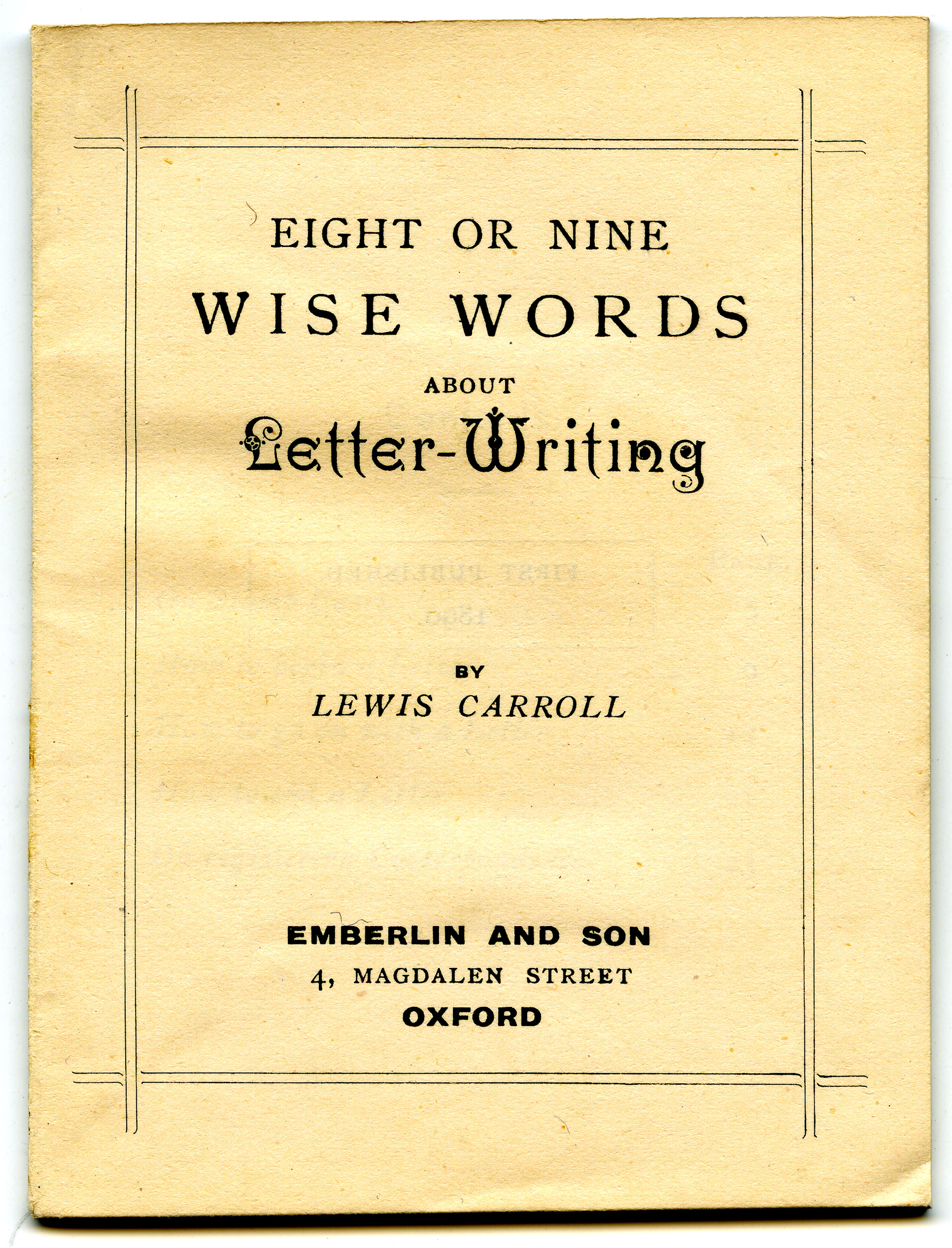 lewis carroll letter writing