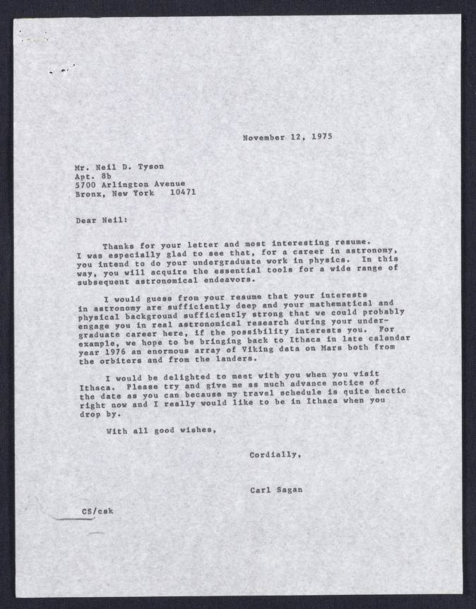 sagan letter to tyson