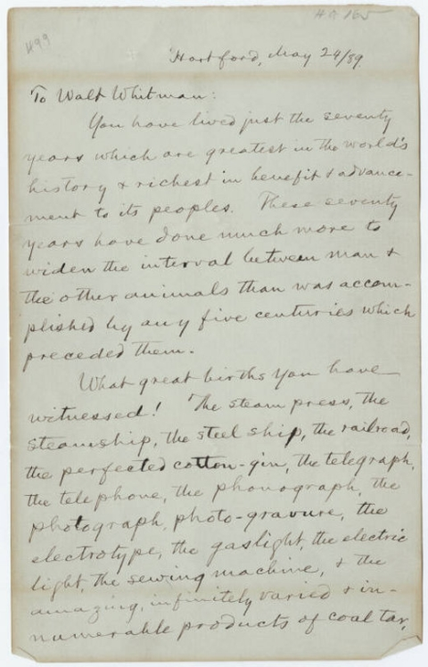 Mark Twain Writes a Rapturous Letter to Walt Whitman on the Poet's