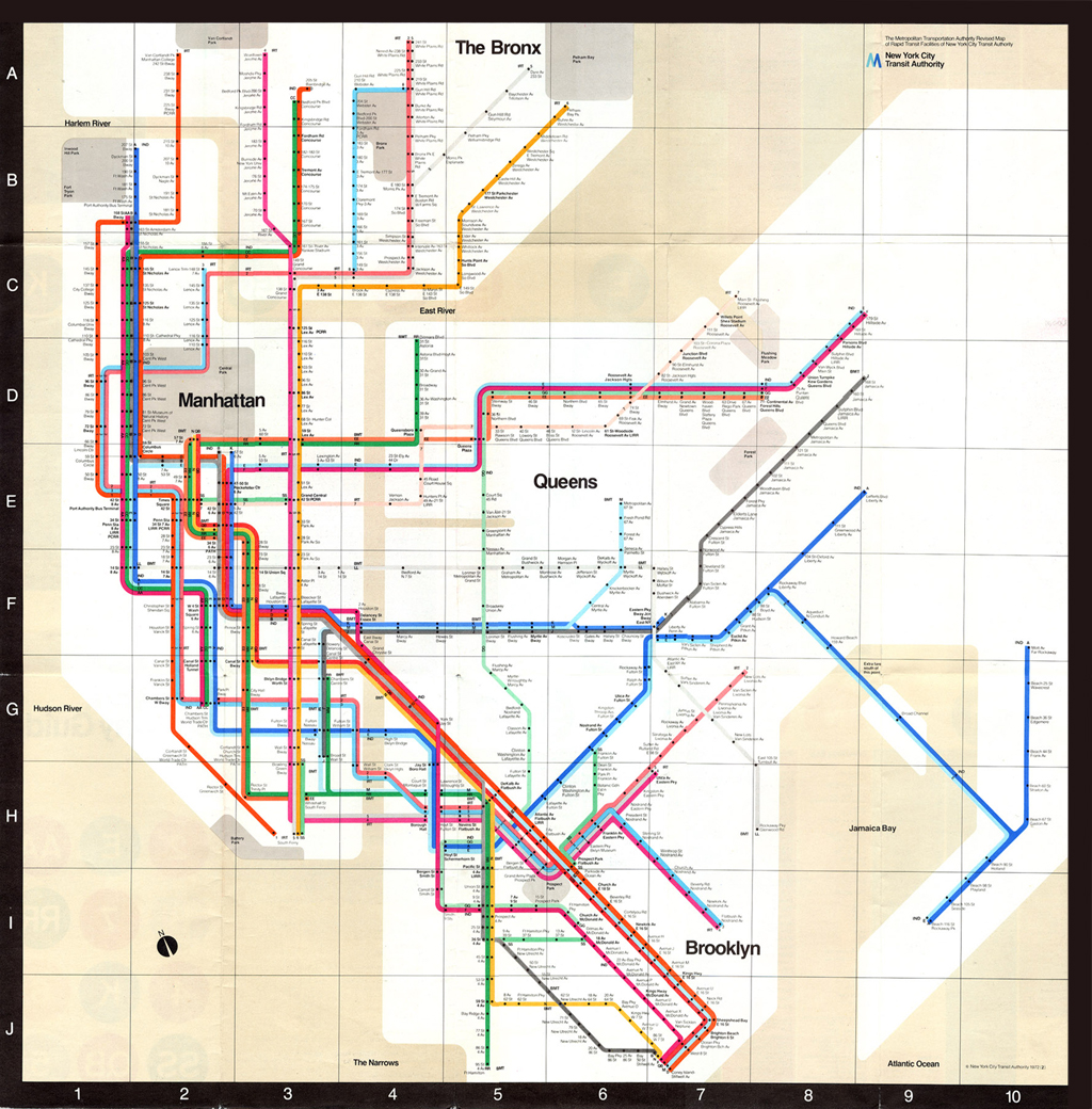 Subway Map New York Manhatten.Massimo Vignelli Explains His Iconic 1972 New York City Subway Map