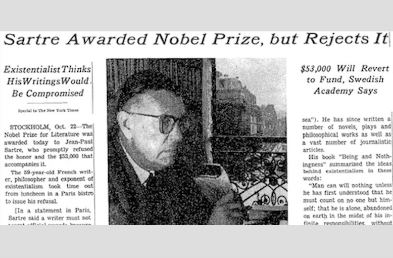 """Jean-Paul Sartre Rejects the Nobel Prize in Literature in 1964: """"It Was Monstrous!"""""""