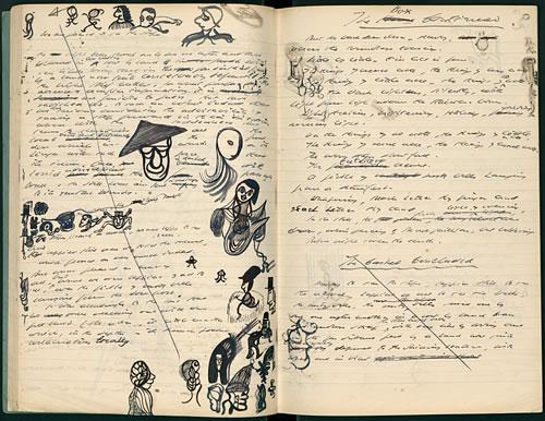 Samuel Beckett Draws Doodles Of Charlie Chaplin James Joyce Hats on Shakespeare Handwriting