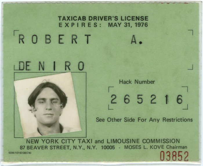 Robert De Niro's Taxi Cab License Used to Prepare for Taxi Driver