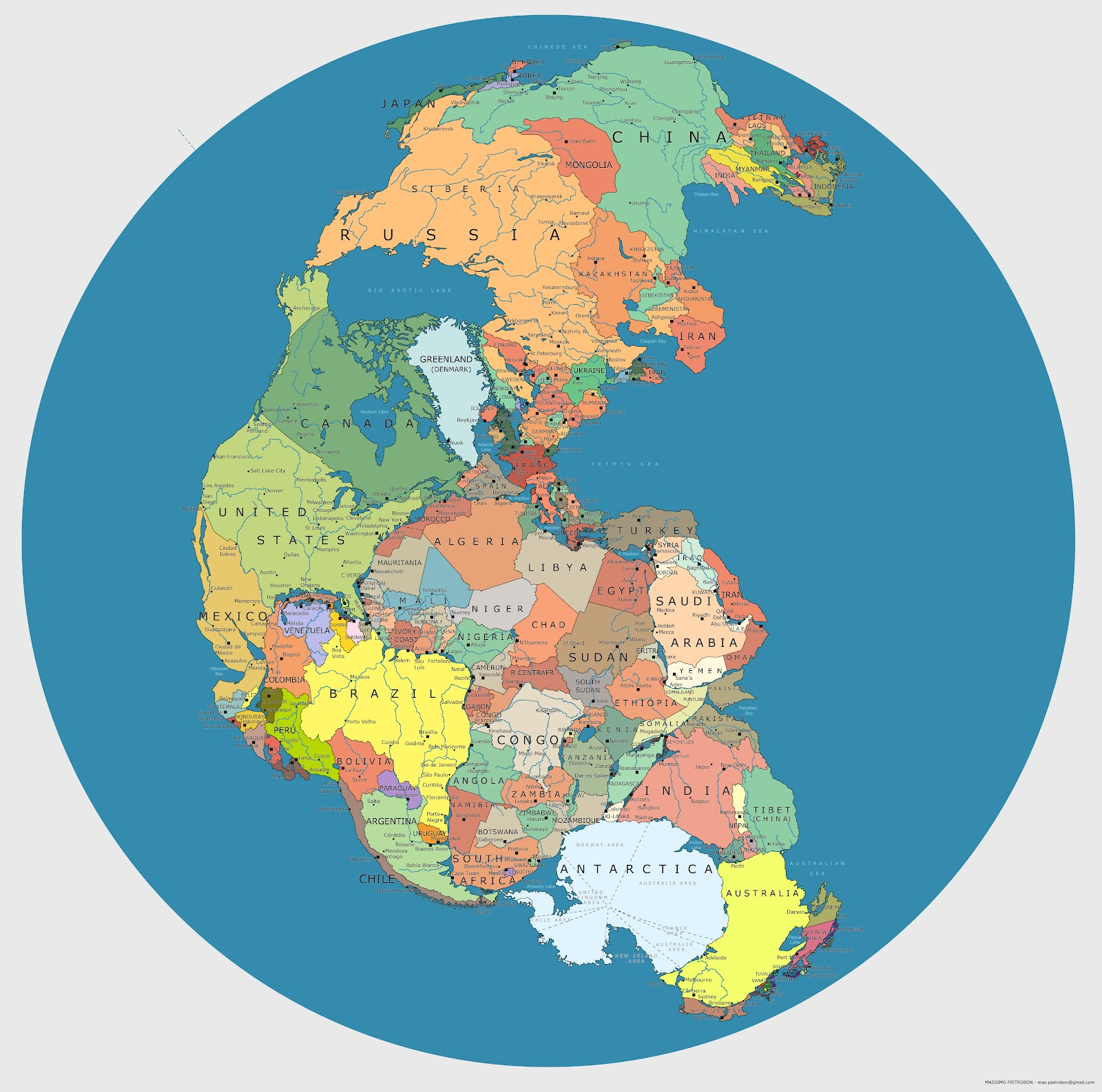 Map Showing Where Today's Countries Would Be Located on Pangea
