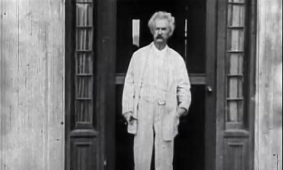Mark Twain Captured on Film by Thomas Edison in 1909. It's the Only Known Footage of the Author.