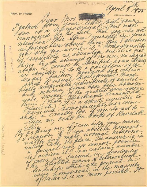 """Sigmund Freud Writes to Concerned Mother: """"Homosexuality is Nothing to Be Ashamed Of"""" (1935)"""